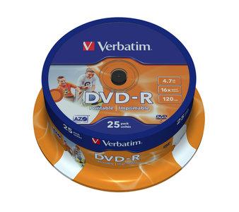 VERBATIM DVD-R Wide Inkjet Printable - spindle à 25 stuks