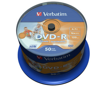 VERBATIM DVD-R Wide Inkjet Printable - spindle à 50 stuks